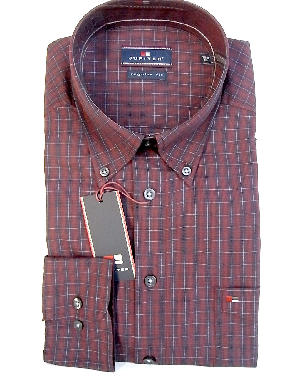 Langarmhemd kariert Button Down Kragen Jupiter