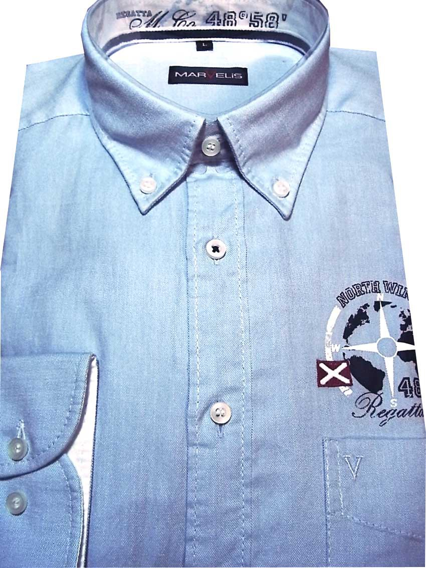 Freizeithemd hellblau Button down Kragen Brustprint MarVelis