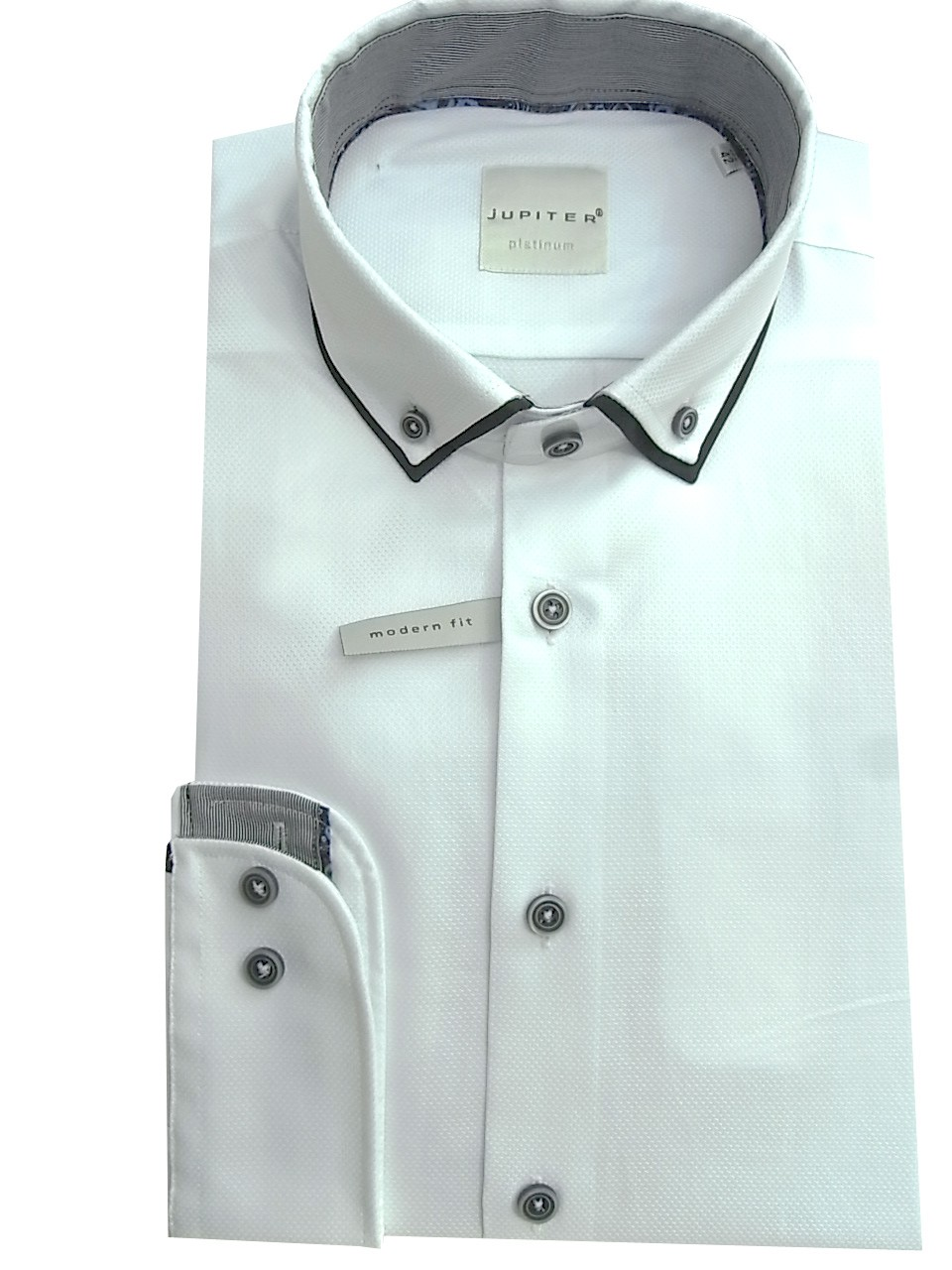 Herren Hemd Button Down Kragen weiß Jupiter